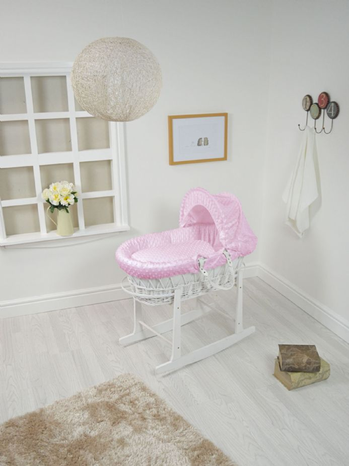 White Wicker Dimple Lined Moses Basket